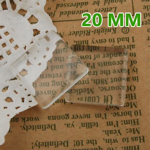100 20MM square Flat Back clear Crystal glass Cabochon,Top quality,glass tiles,about 4mm thick