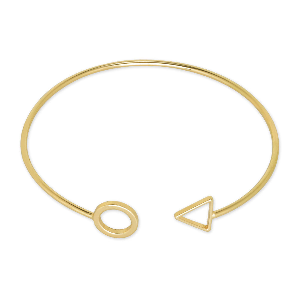 60mm Adjustable Brass Cuff Bracelet circle and Triangle Bangle eometry bracelet personalized bracelets plated gold 1pcs