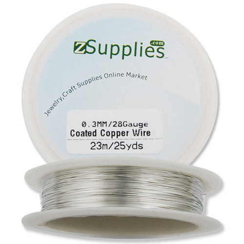 0.3MM Thick Silver Coated Soft Copper Wire,about 23M/25yds per Roll,28Gauge,Sold 10 Rolls Per Lot