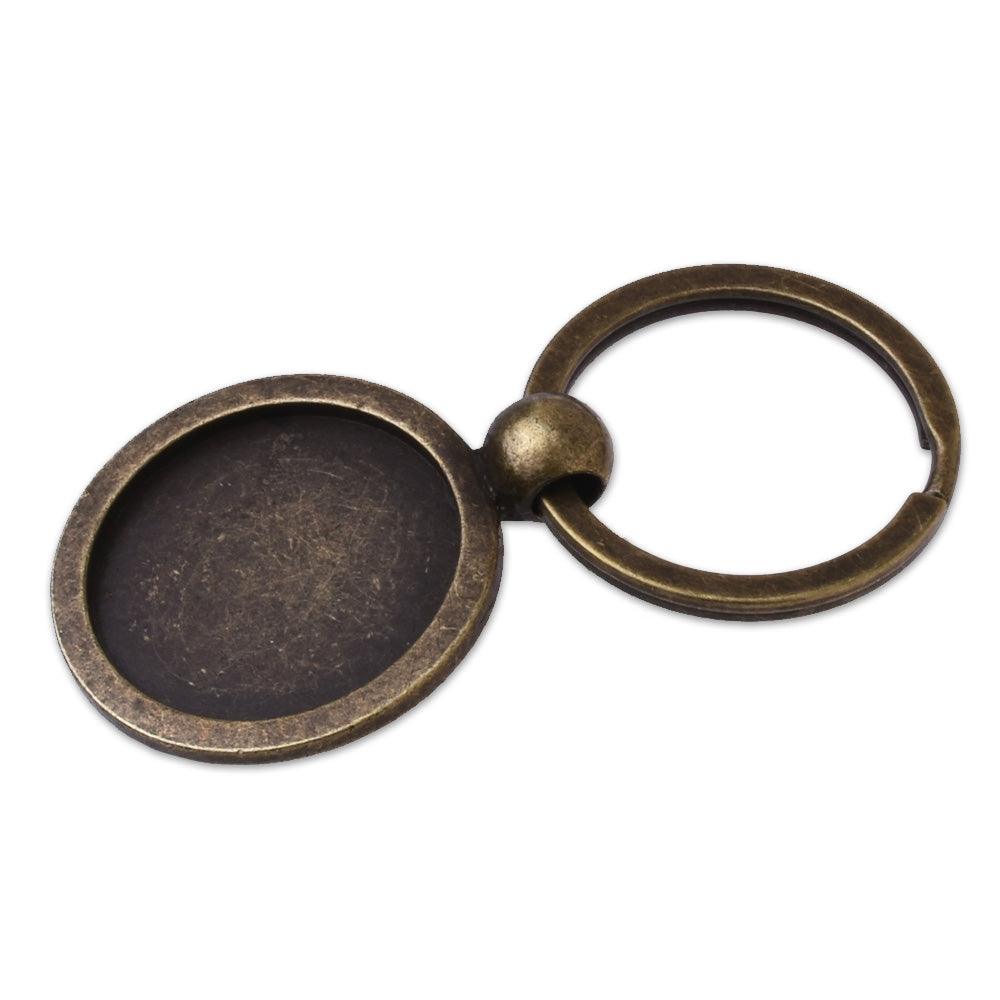 "5pcs Antique Bronze Key Chain Blanks - Round Bezels Settings 25mm 1"" Photos Charms,Diy key rings,keychain"