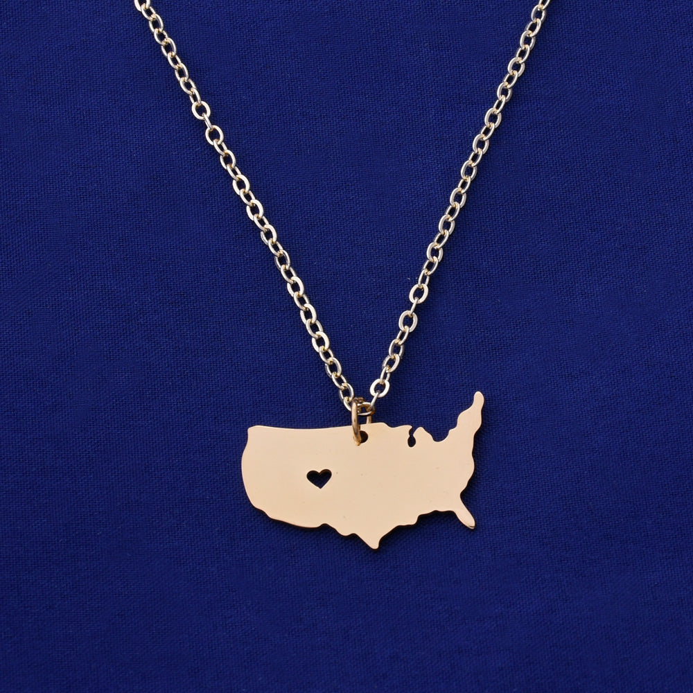 1 pcs about 26x18mm Gold Stainless Steel pendant map necklace Stamping blank Jewelry supplies United States-USA 18 Gauges