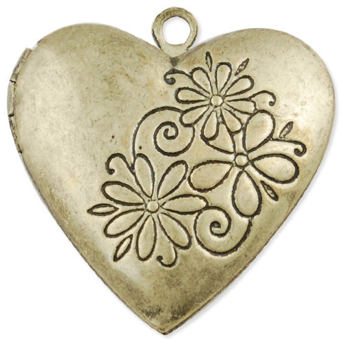 26*25 mm Antique Brass Heart Lockets Pendant Victorian Style,Sold 20 pcs per pkg