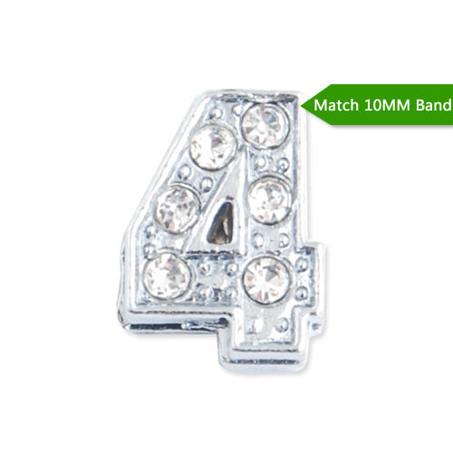 "10MM Number ""4"" Slider Charms,Crystal Rhinestones Number Beads,Silver Plated,Match 10mm Band or Slider Bracelet;sold 50pcs per pkg"