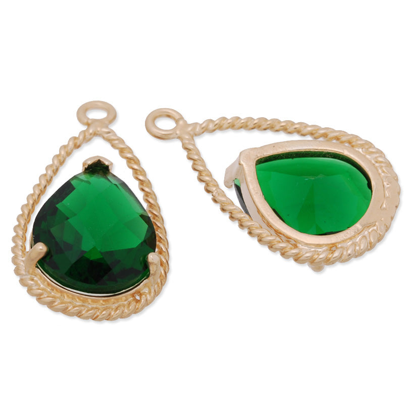 11.5x20mm matt gold plated framed glass,Faceted glass,emerald,connectors,gemstone bezel,Sold 5pcs/lot
