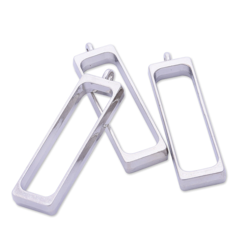 10 Silver Metal Rectangular frame 40.3*12*4mm open back pendant  Zinc alloy accessories pendant trays Resin Setting Blanks