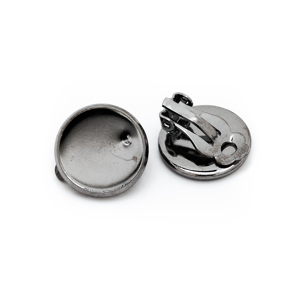 14mm Round Antique Black Metal Blank Earring Clip Base,Earring Clip Blanks,Cabochon base earring clip,sold 50pcs/lot