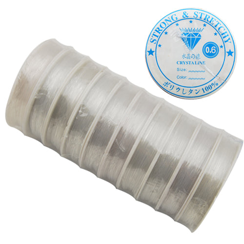 10M/Roll,0.6MM Crystal Thread,Clear,Elastic Rubber Beading Cord Thread String,Sold 10 Rolls Per Lot