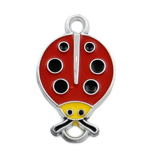 Ladybug Enamel Charms,red,height 24mm,width 15mm,thick 1.7mm,Sold 20 PCS Per Package