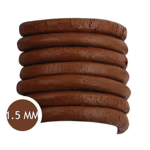 1.5mm Thickness Light Coffee Round Leather Cord,Sold 50M/Roll