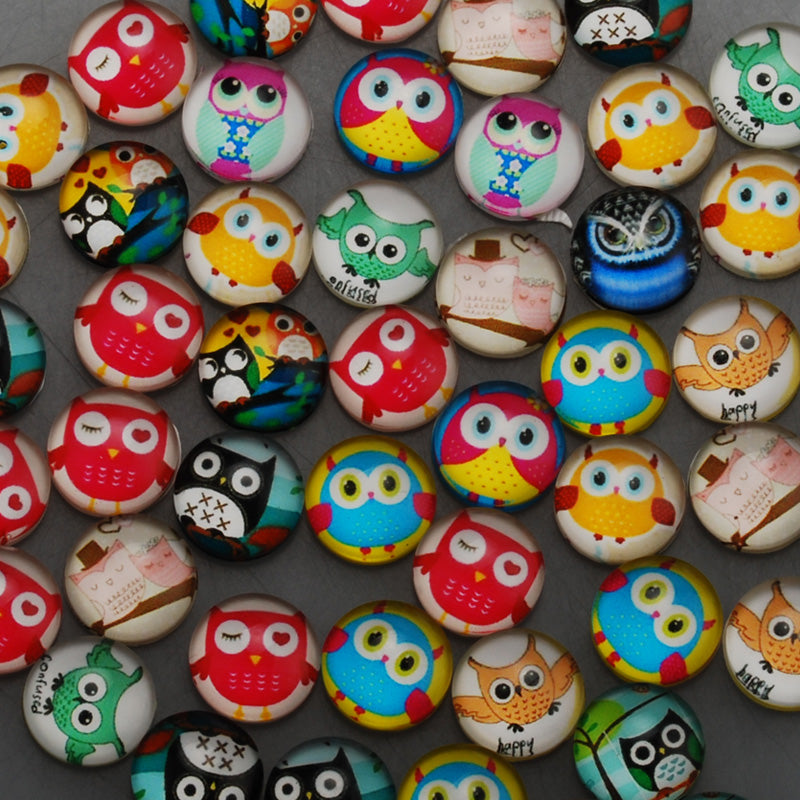 12mm Round glass cabochons,cartoon owl Pattern glass cabochon,flat back,thickness 4.5mm,50 pieces/lot