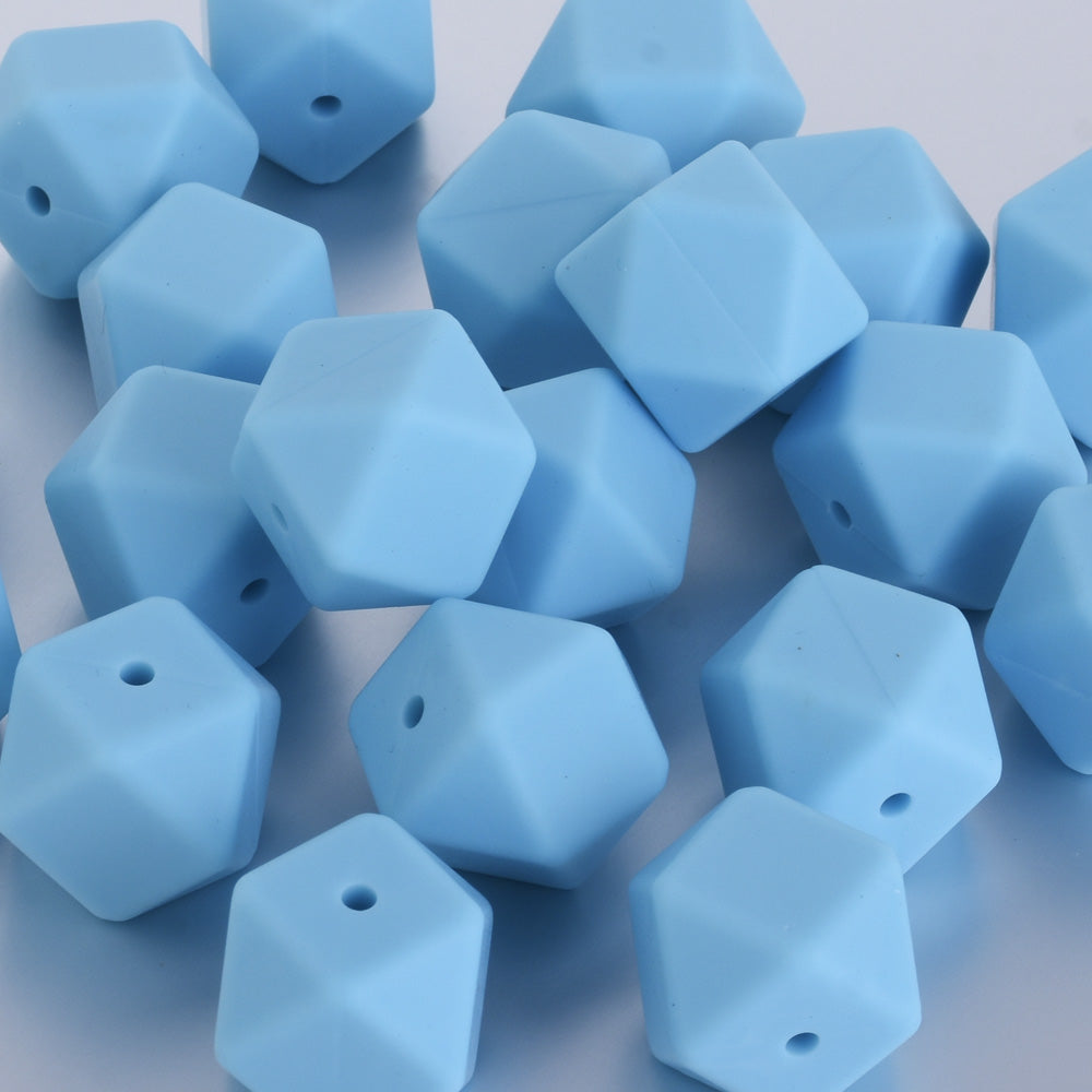 17*17*17MM Hexagon Silicone Teething Beads Sensory Beads BPA free silicone beading Food grade silicone blue 10pcs