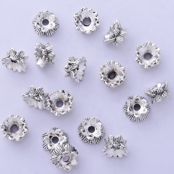 10mm Flower Spacer Beads Charms Jewelry Findings Tibetan Antique Silver Bead Caps 50pcs
