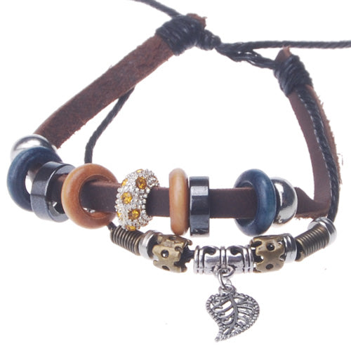 2013-2014 Summer popular hot sale tree leaf charm beaded hand-woven  leather bracelet,Deep Coffee,sold 10pcs per pkg