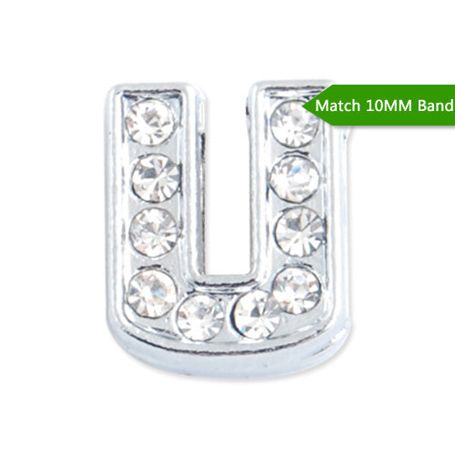 "10MM Letter ""U"" Slider Charms,Crystal Rhinestones Alphabets Beads,Silver Plated,Match 10mm Band or Slider Bracelet;sold 50pcs per pkg"