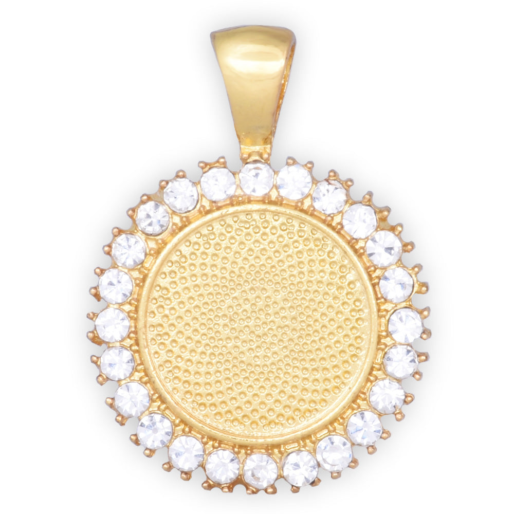 10 Crystal Style Gold Pendant Trays ,16mm Round Cabochon Settings Rhinestone Pendant  Clear Rhinestone Photo holder
