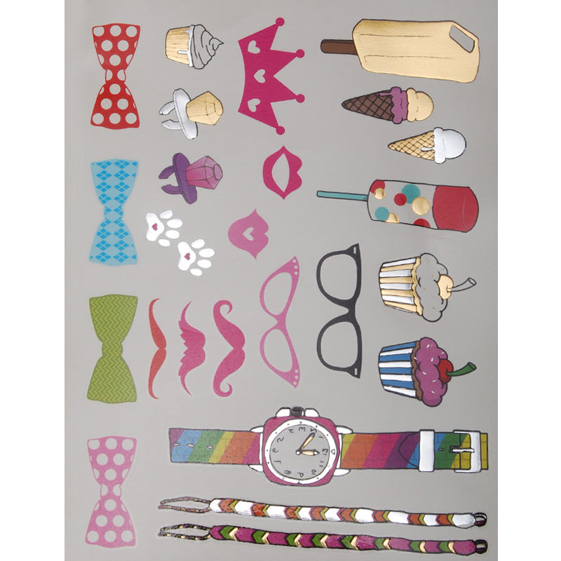 20*15mm Temporary Tattoos,Party Favors Metallic Tattoos,Cartoon Waterproof Metallic Tattoos,5pcs/lot