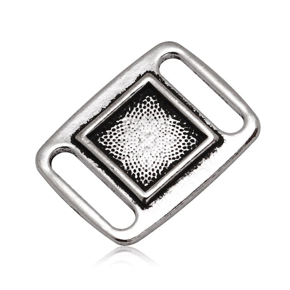 10x10MM Antique Silver Blank Rectangle Slider border,Shoelace charms,slider frame Spacer,Bead Frame charms,zinc alloy filled,20pcs/lot