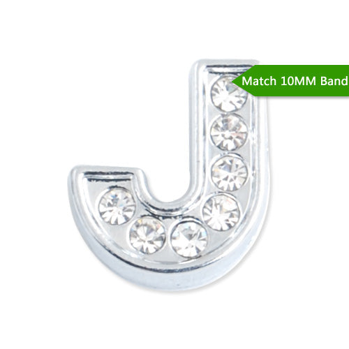 "10MM Letter ""J"" Slider Charms,Crystal Rhinestones Alphabets Beads,Silver Plated,Match 10mm Band or Slider Bracelet;sold 50pcs per pkg"