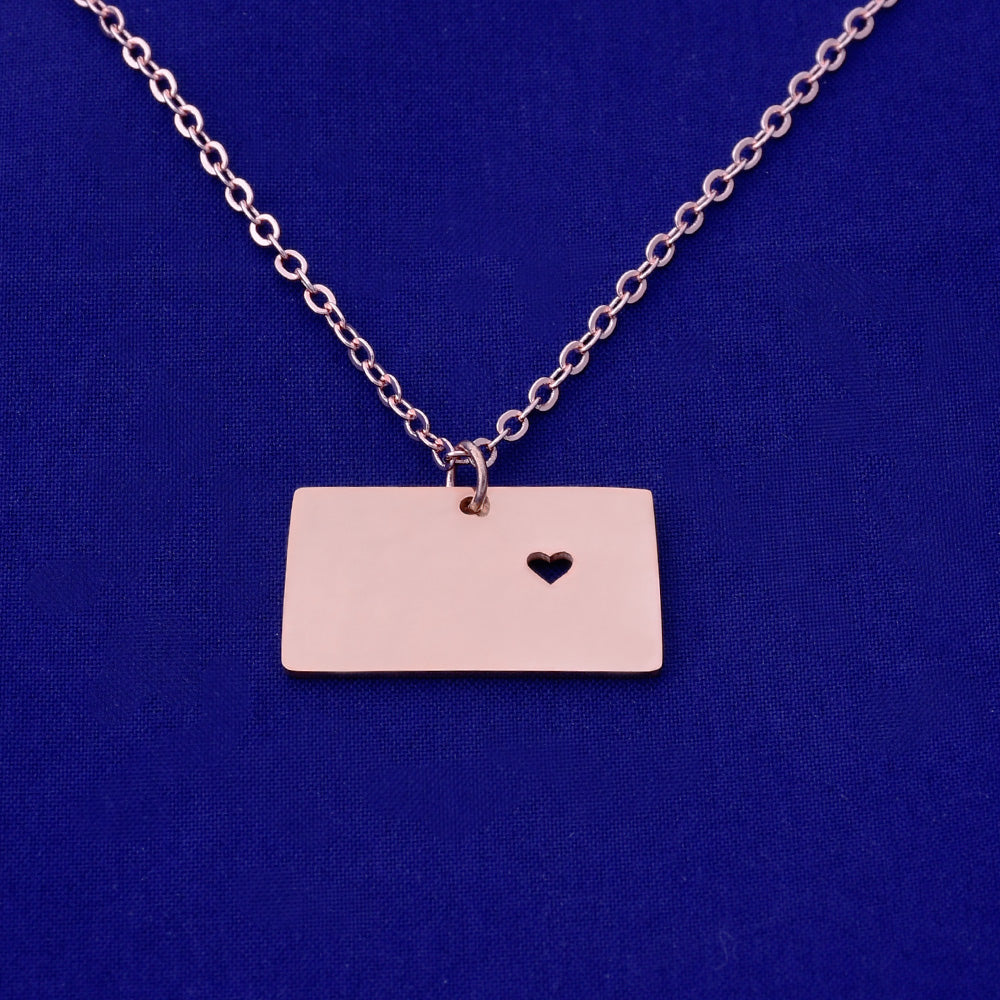 1 pcs about 24x17mm Rose Gold Stainless Steel pendant map necklace Stamping blank Jewelry supplies Wyoming-WY 18 Gauges