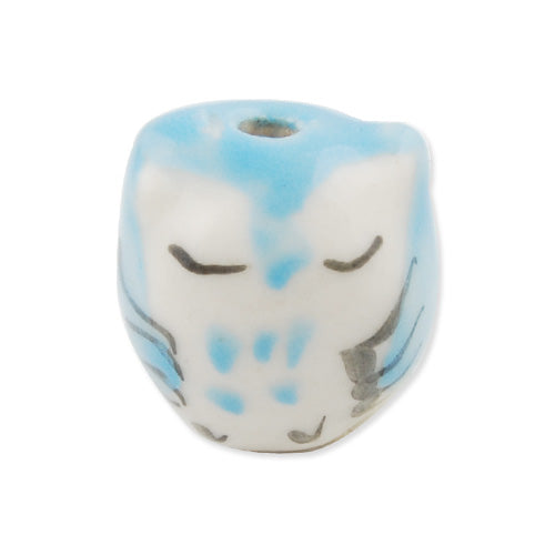 10 packages 7.5*7MM Handmade Porcelain Beads, Cat,Blue,Sold 5pcs per package