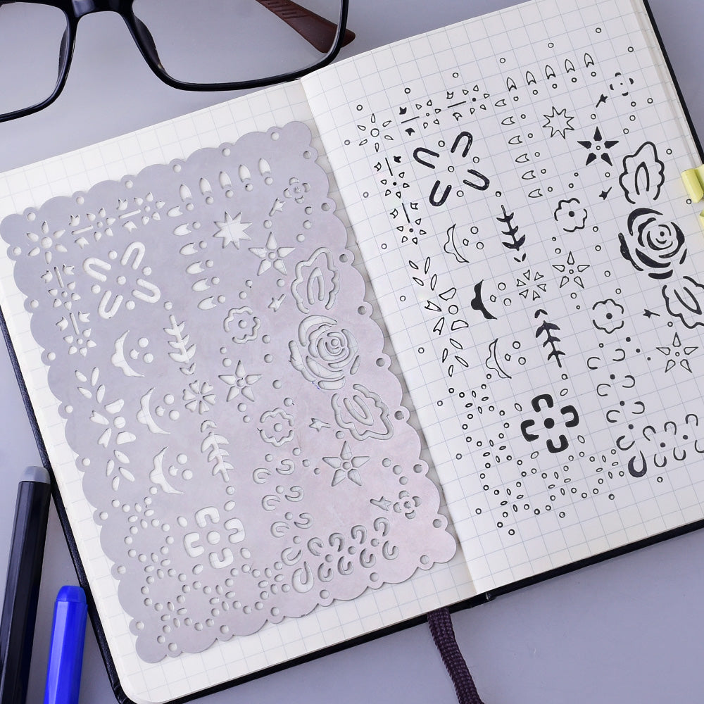 "About  3 1/3*5 1/8"" Stainless Steel bullet journal stencil Drawing Stencil Scrapbook Stencil bullet journal accessories 1pcs"