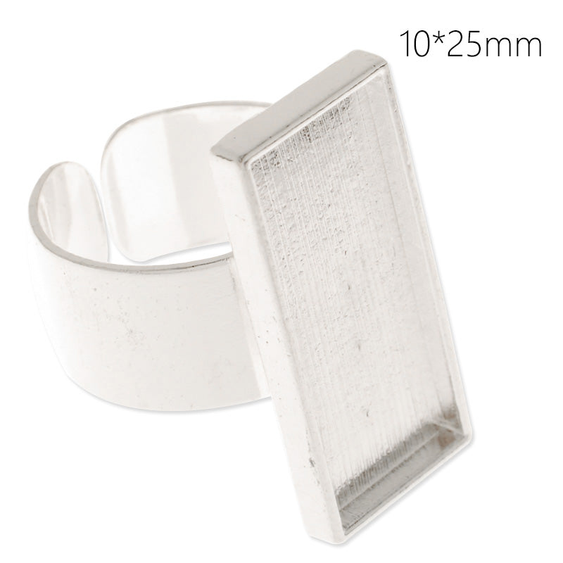 10x25mm silver plated adjustable rectangle cabochon base setting ring,ring blank,ring bezel, 10 pieces/lot