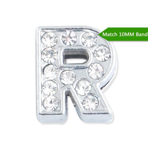 "10MM Letter ""R"" Slider Charms,Crystal Rhinestones Alphabets Beads,Silver Plated,Match 10mm Band or Slider Bracelet;sold 50pcs per pkg"