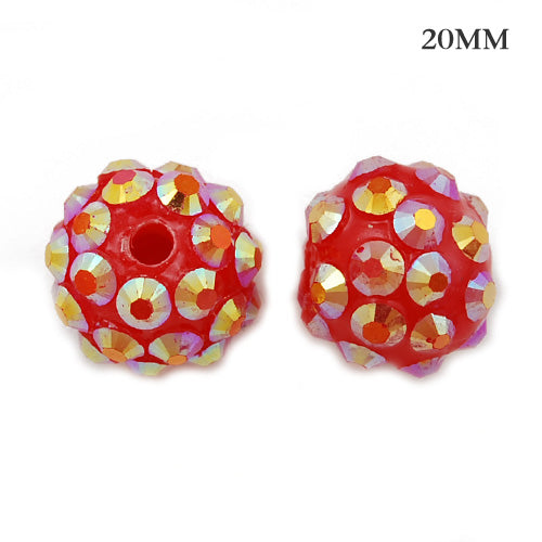 18*20 MM Round Resin Pave Beads,Red Base,Clear AB,Sold 20PCS Per Package