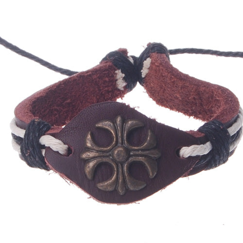 2013-2014 Summer hot sale promotional gifts Four leaf pattern beaded hand-woven  leather bracelet,Deep Coffee,sold 10pcs per pkg