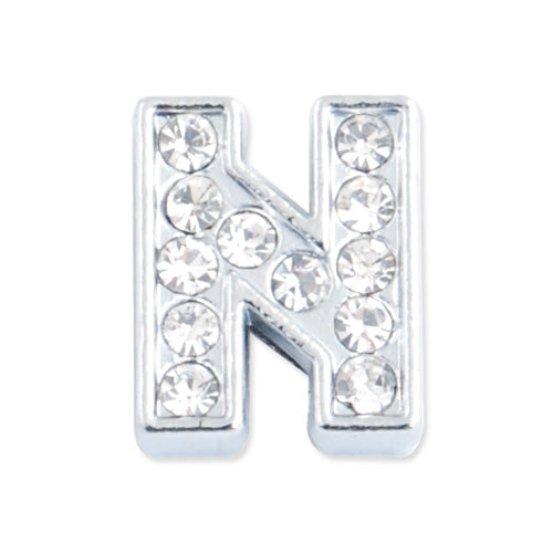 "12*10*5 MM Clear Crystal Rhinestone Letter ""N"" Slider Charm Beads,Hole Sizes:8*2 MM,Silver Plated,lead Free and Nickel Free,Sold 50 PCS Per Package"