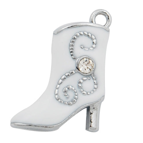 3D Shoe Enamel Charms,White with Clear glass diamond,height 22mm,width 16mm,thick 6mm,Sold 20 PCS Per Package