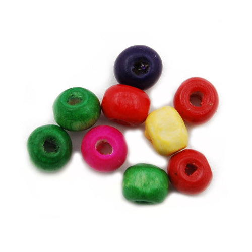 5*6 MM,300 Grams Round  Wooden Beads,Mixd Color,Approx 4200PCS