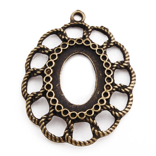 13*18MM Antique Bronze Plated Oval  Zinc Alloy Pendant trays,lead and nickle free;sold 20pcs per pkg