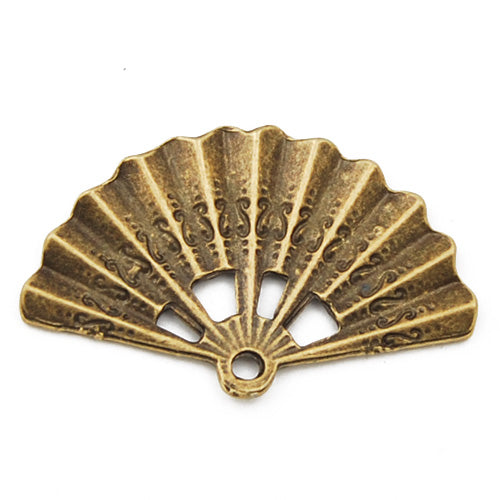 33*21*1.8mm Vintage antique bronze Zinc alloy charms and pendant,fan,sold 100 pcs per pkg