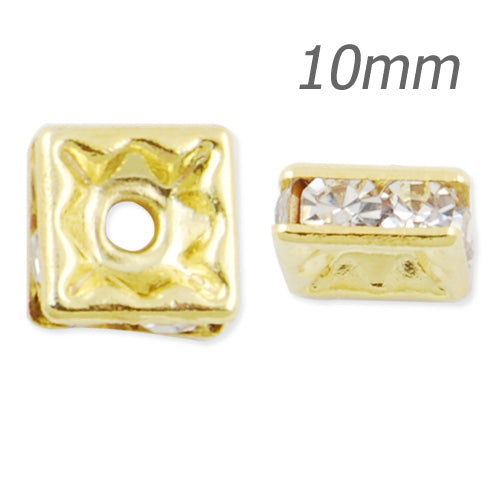 10MM Rhinestone Spacer Beads,Crystal Diamond,Brass,gold Plated,