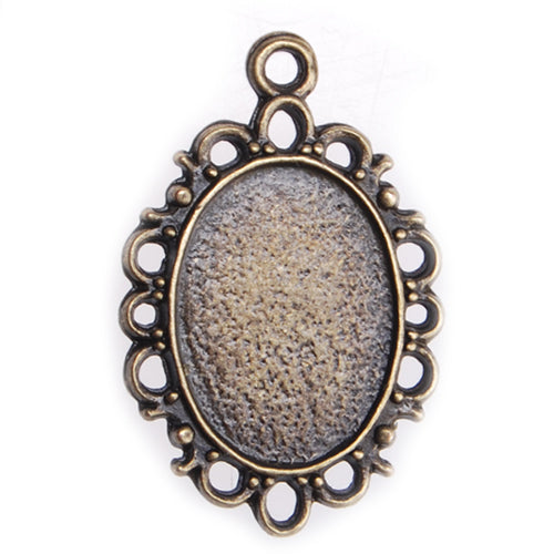 13*18MM Antique Bronze Oval Zinc Alloy Cameo Cabochon Base Setting Pendants,Nickle and Lead free;fit 13*18mm cabochon,sold 50pcs per pkg