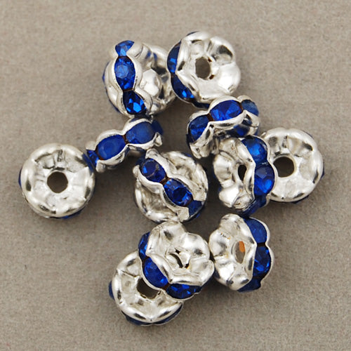 6MM Diameter Rhinestone Spacer Beads,Royal Blue,Brass,Silver Plated,Thick About 3MM,Hole:About 1MM,Sold 100 PCS Per Package