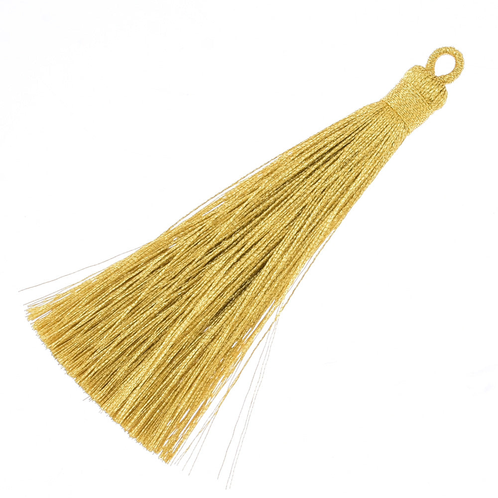 8.7cm Mini Polyester Gold and silver line tassels for jewelry making Necklace Earrings Gold,6pcs/lot