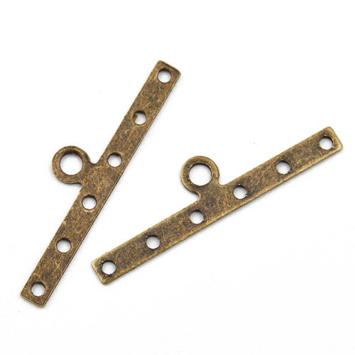 Metal End Bar,Six hole,30MM,Antique Bronz Plated,Sold 500 pcs per Pkg