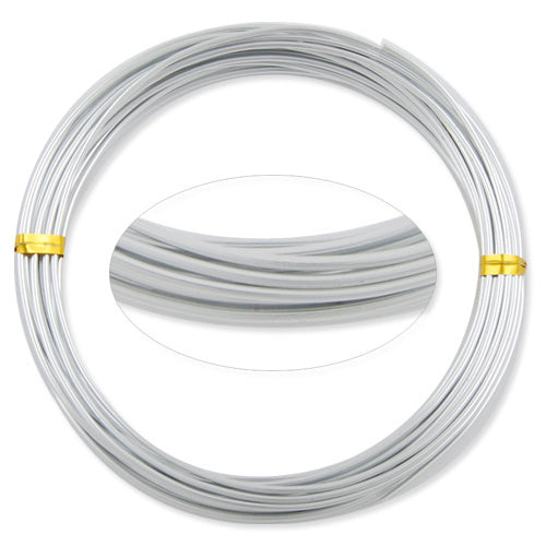 1.5MM Anodized Aluminum Wire, Silver Coated, round,5M/coil,Sold Per 10 coils