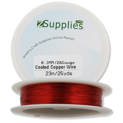 0.3MM Thick Red Coated Soft Copper Wire,about 23M/25yds per Roll,28Gauge,Sold 10 Rolls Per Lot