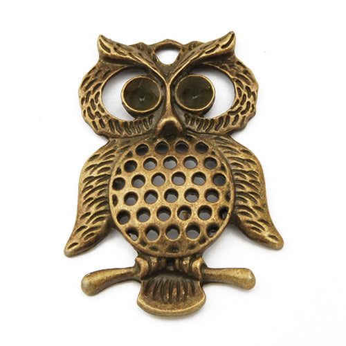 47*26mm Vintage antique bronze Zinc alloy Pendants,Large Owl,sold 20 pcs per pkg