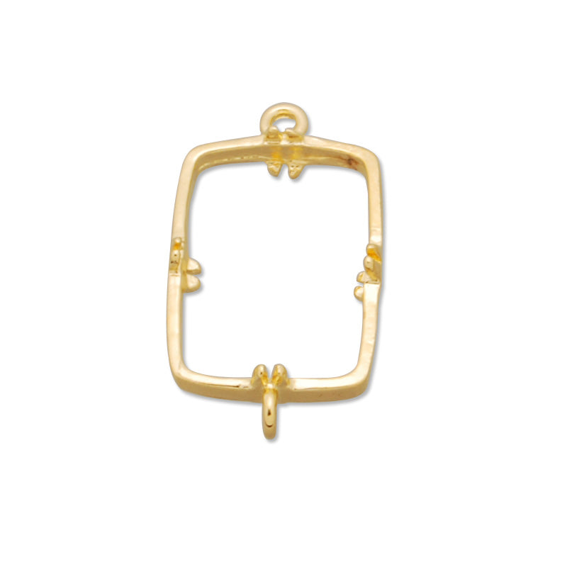10*14MM Rectangle  Brass Gemstone Bezel with hook,Gold,charms links,sold 20pcs per lot