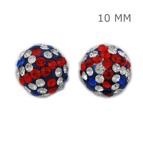 10MM Jubilee colours   Pave Crystal Beads,Clay Glue Base,Hole size 1.5mm,Sold 10 PCS Per Package