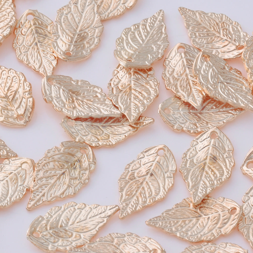 50 Gold 1.7*1.0 cm Charm Alloy Leafs Metal Pendant accessories Jewelry findings Diy Handmade Pendants