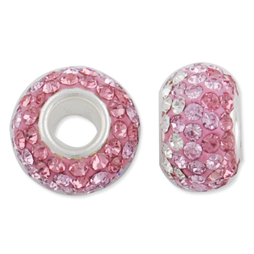 12*7 MM High Quality Round Pink-Crystal Pave Crystal Beads,Brass Hole,Hole Size 4.3MM,Sold 5 PCS Per Package