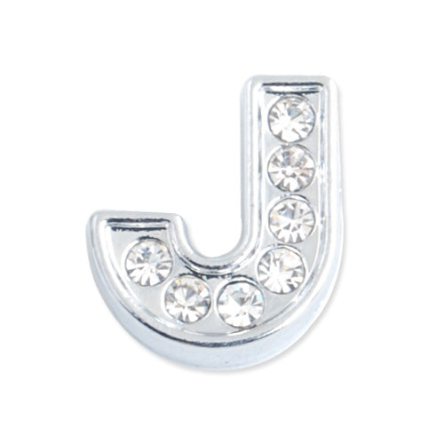 "12*11*5 MM Clear Crystal Rhinestone Letter ""J"" Slider Charm Beads,Hole Sizes:8*2 MM,Silver Plated,lead Free and Nickel Free,Sold 50 PCS Per Package"