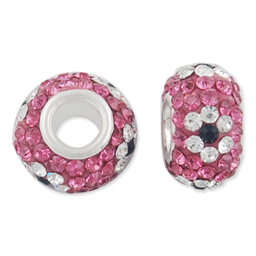 12*7 MM High Quality Round Pink-Crystal-Black Pave Crystal Beads,Skyeye,Brass Hole,Hole Size 4.3MM,Sold 5 PCS Per Package