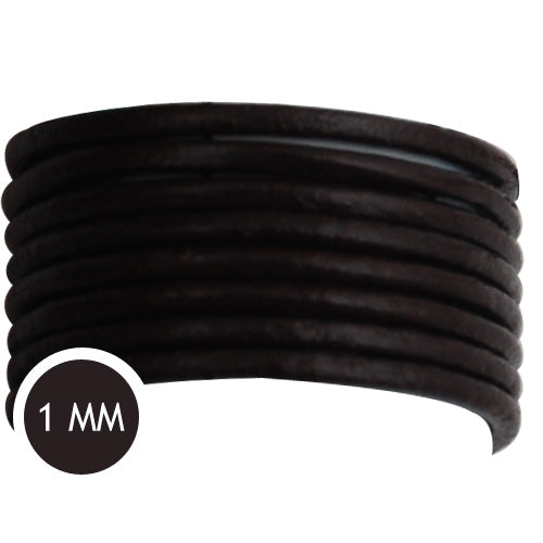 1.0mm Thickness Dark Coffee Round Leather Cord,Sold 50M/Roll