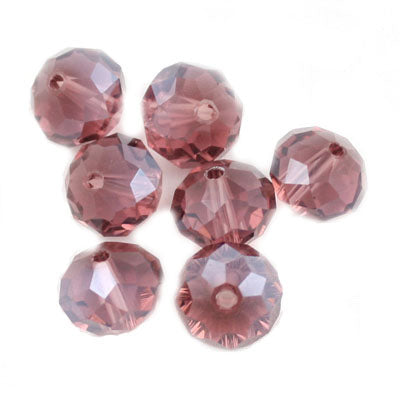 10 MM Rondelle,Rose,Handmade Cut Glass Crystal Beads